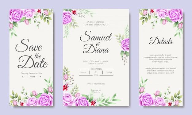 Beautiful wedding invitation card design template Vector ...