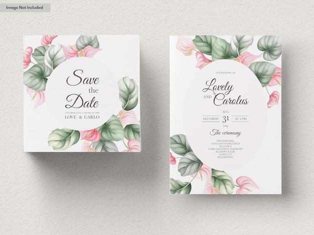 美しい結婚式の招待カードセットテンプレート 無料ベクター