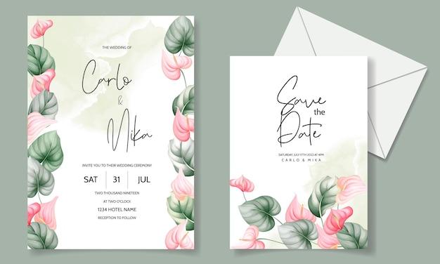 Beautiful wedding invitation card set template Free Vector