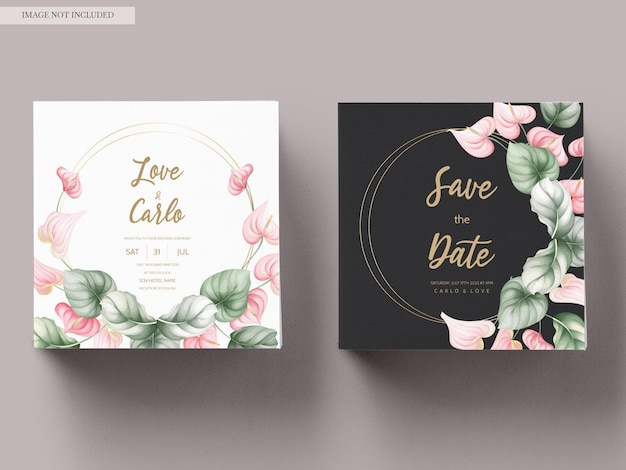 Beautiful wedding invitation card set template Free Vector