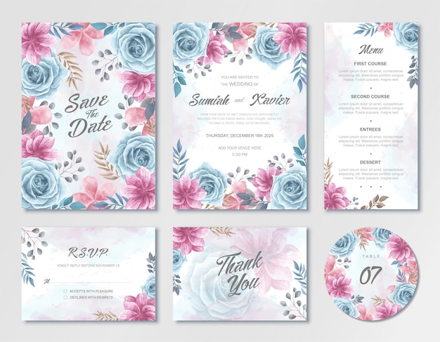 Beautiful wedding invitation card template set with blue and pink watercolor flowers Premium Vector