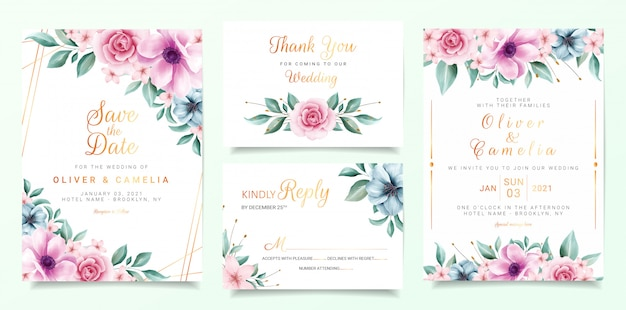 Beautiful Wedding Invitation Card Template Set With Colorful