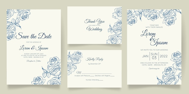 Beautiful wedding invitation card template set with floral frame Premium Vector
