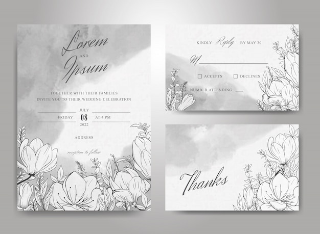 Beautiful wedding invitation card template set with hand drawn floral  and watercolor splash background Premium Vector