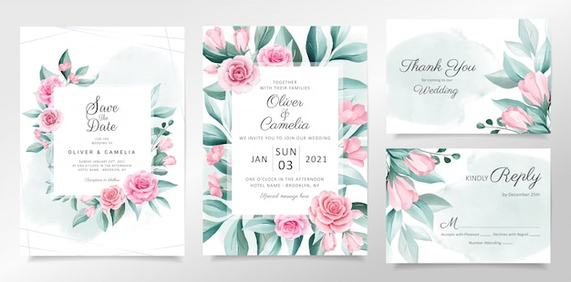 Beautiful wedding invitation card template set with soft watercolor flowers decoration Premium Vecto
