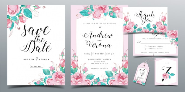 Beautiful wedding invitation card template in soft pink color theme with pink roses watercolor decoration Premium Vector