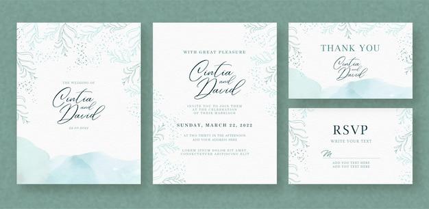 花と水色のスプラッシュの背景を持つ美しい結婚式の招待カードテンプレート Premiumベクター