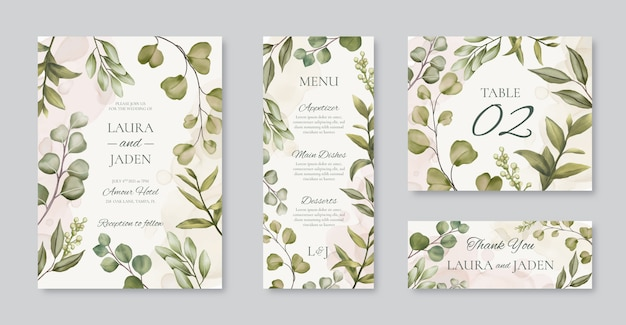 Beautiful wedding invitation card template with floral frame set bundle pack collection Premium Vector