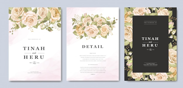 Beautiful wedding invitation card template with floral and leaves Free Vector