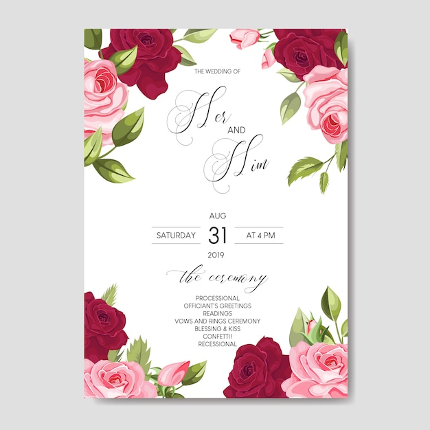 beautiful wedding invitation card template with floral