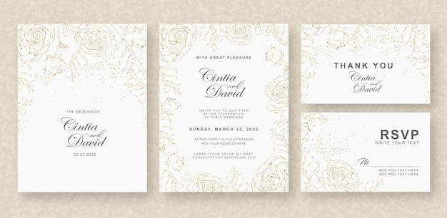 花の背景を持つ美しい結婚式の招待カードテンプレート Premiumベクター