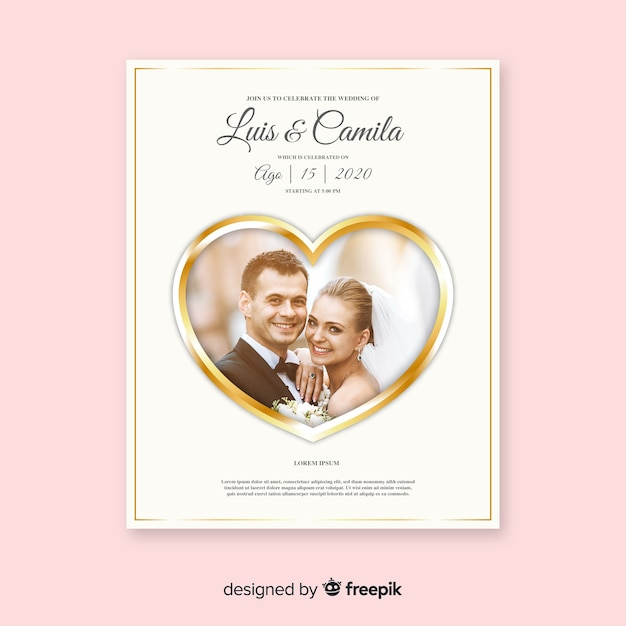 Beautiful Wedding Invitation Card Template With Photo Vector