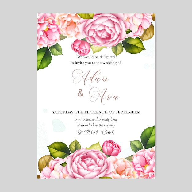beautiful wedding invitation card template with roses and