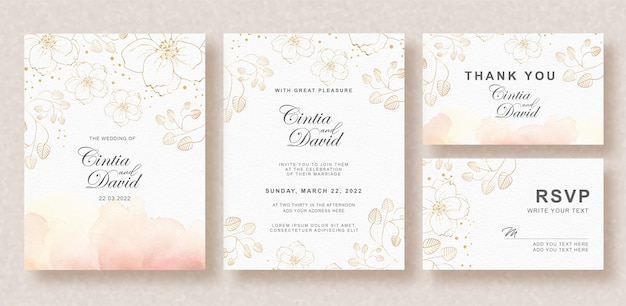Beautiful wedding invitation card template with splash background and floral watercolor Premium Vector
