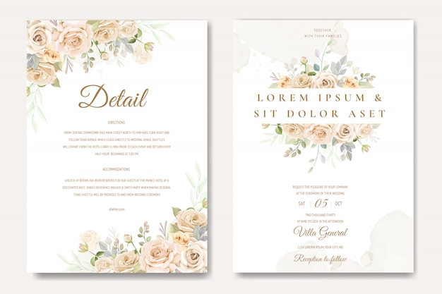 Beautiful wedding invitation card template with white and yellow roses Premium Vector