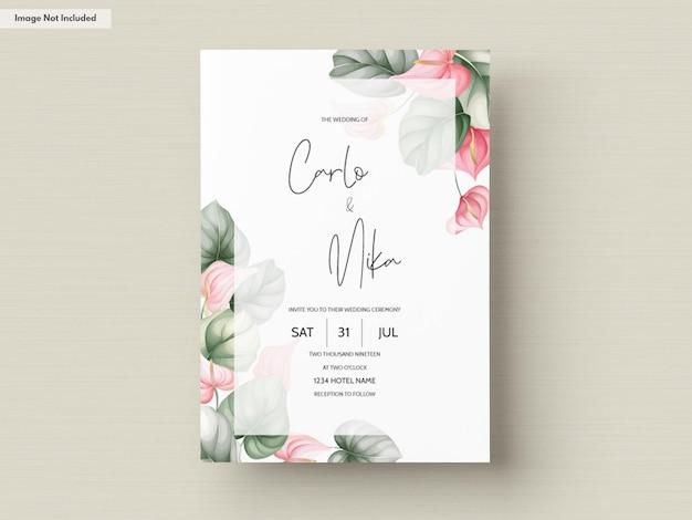 Красивый шаблон свадебного приглашения Premium векторы