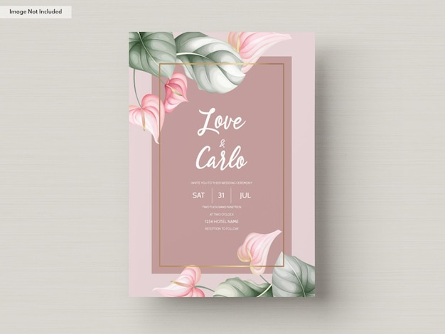 아름 다운 결혼식 초대 카드 서식 파일 무료 벡터