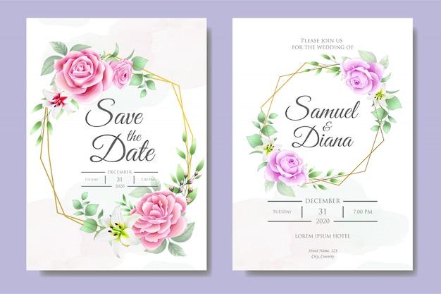beautiful wedding invitation card template vector
