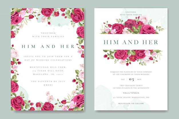 Beautiful wedding invitation card with colourful roses template Premium Vector