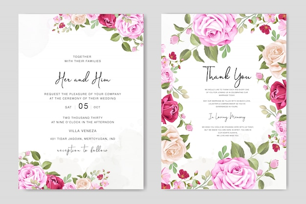 Beautiful wedding invitation card with floral frame template Premium Vector