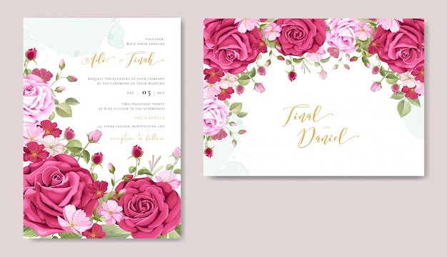Beautiful Wedding Invitation Card With Floral Frame Template