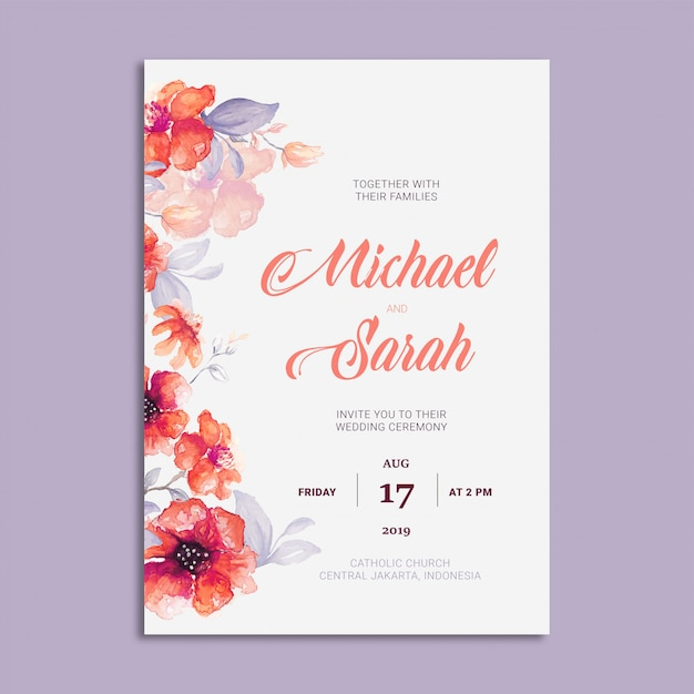 Beautiful Wedding Invitation Card With Floral Frame Vector