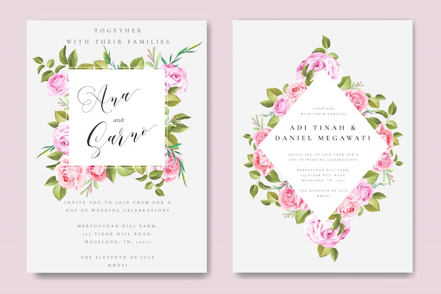 Beautiful wedding and invitation card with floral and leaves frame Premium Vector