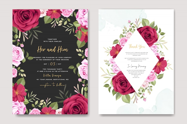 Beautiful wedding invitation card with floral and leaves template Premium Vector
