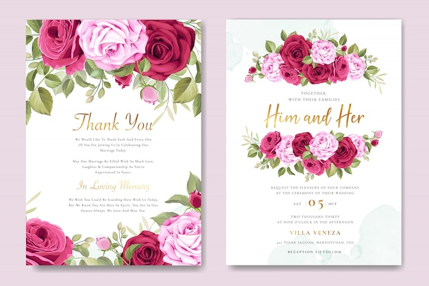 Beautiful wedding invitation card with floral and leaves wreath Premium Vector