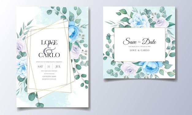 Красивая свадебная пригласительная открытка с цветочным декором Бесплатные векторы