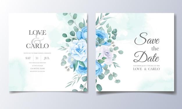 花の装飾が施された美しい結婚式の招待カード 無料ベクター