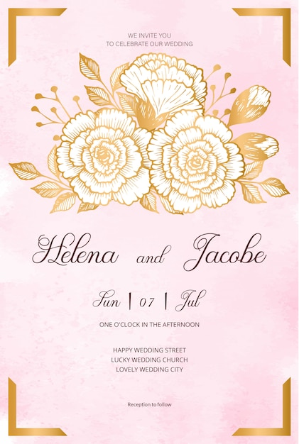 beautiful wedding invitation card with golden flowers