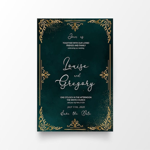 Beautiful wedding invitation card with golden ornaments Free Vector