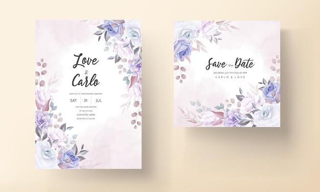 Красивая свадебная пригласительная открытка с фиолетовыми цветами Бесплатные векторы