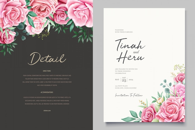 Beautiful wedding invitation card with watercolor floral wreath Free Vector