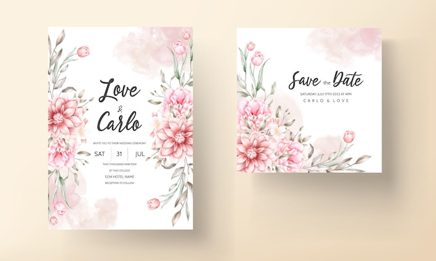 Carta di invito matrimonio bellissimo con fiori ad acquerelli Vettore gratuito