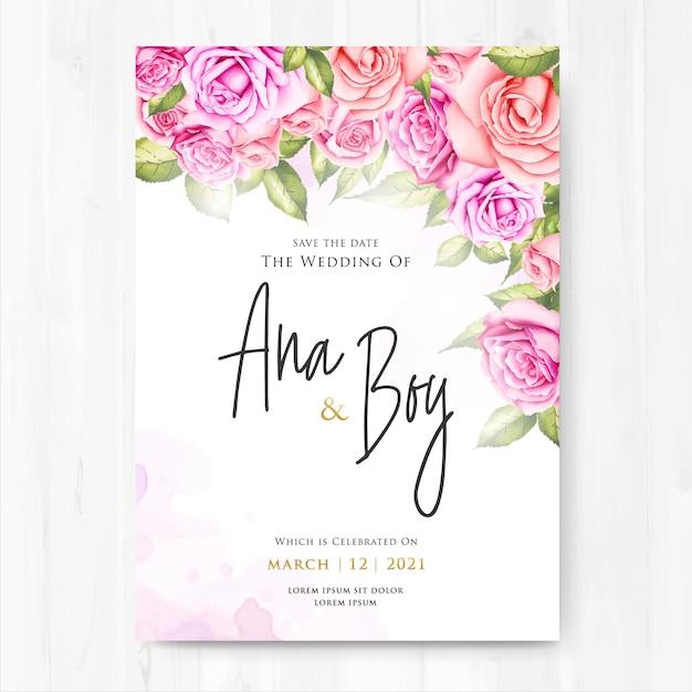Premium Vector | Beautiful wedding invitation card