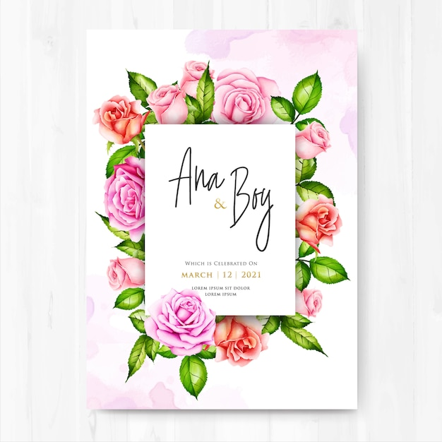 beautiful wedding invitation card  premium vector