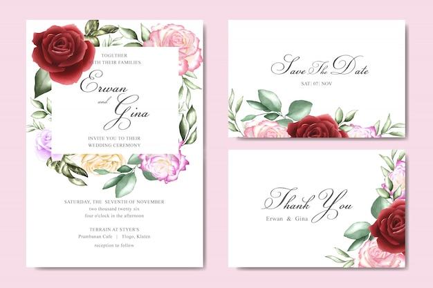 beautiful wedding invitation card vector  premium download