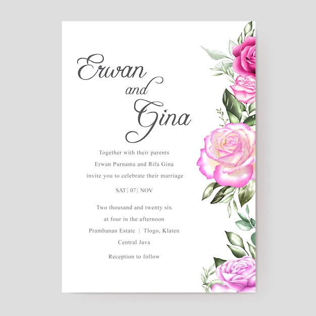 premium vector  beautiful wedding invitation card