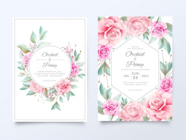 Beautiful wedding invitation cards template with soft watercolor flowers decoration Premium Vector