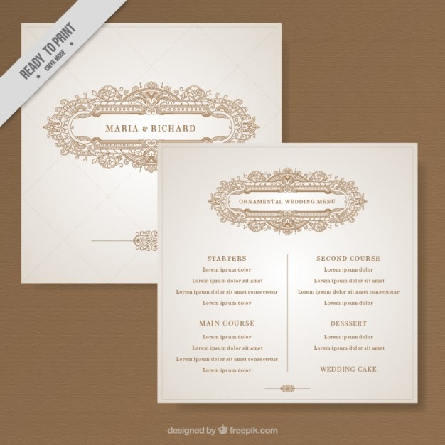 Beautiful Wedding Invitation Decorated With Elegant Ornaments Free Vector