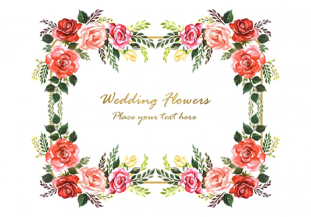 Beautiful wedding invitation decorative flowers frame Free Vector