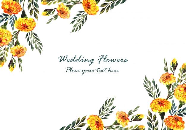 Beautiful wedding invitation decorative flowers frame Free Vector