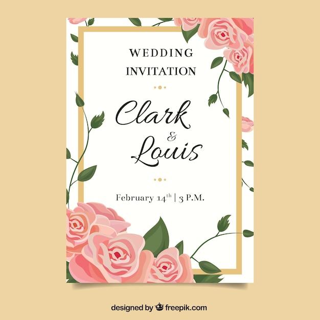 Beautiful wedding invitation in flat design | Free Vector