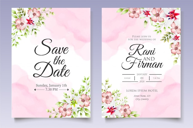 Beautiful wedding invitation floral and leaves card template Premium Vector