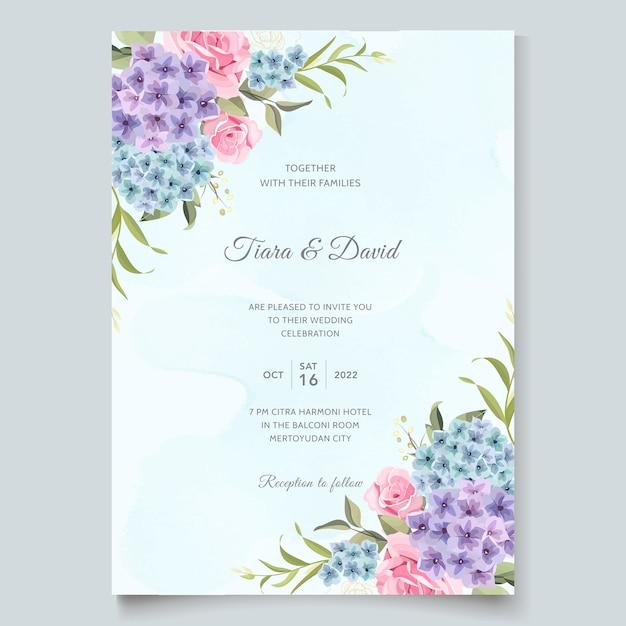 美しい結婚式の招待状の庭の花 Premiumベクター
