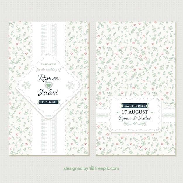 Beautiful wedding invitation in vintage style\ of decorative flowers