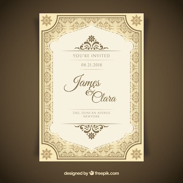 Beautiful Wedding Invitation In Vintage Style  Free Engagement Invitation Templates