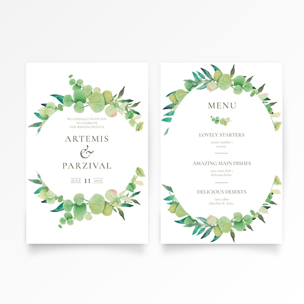 Beautiful wedding invitation and menu template with floral ornaments Free Vector